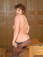 Naughty housewife showing her panties and then some